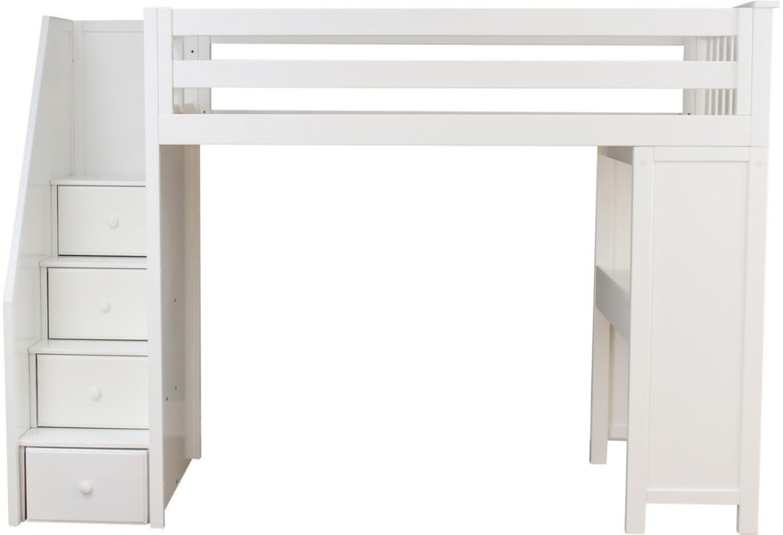 Jackpot Kids All In Ones Brighton Twin Staircase High Loft In White W Table Belfort Furniture Loft Beds