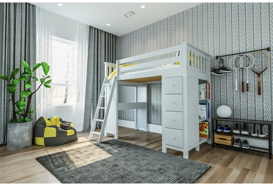 Jackpot Kids All In Ones Kensington Twin All In One In White W Table Bookcase And Dresser Belfort Furniture Loft Beds