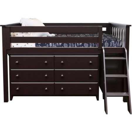 Windsor 1 Low Loft Bed in Espresso