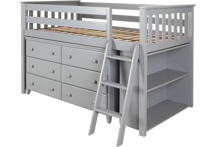Jackpot Kids Loft Beds Windsor Low Loft Bed In Grey W Angle Ladder W 6 Drawer Dresser And Bookcase Belfort Furniture Loft Beds