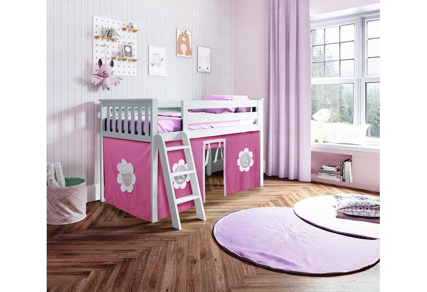 Jackpot Kids Loft Beds York 1 Low Loft Bed In White W Angle Ladder