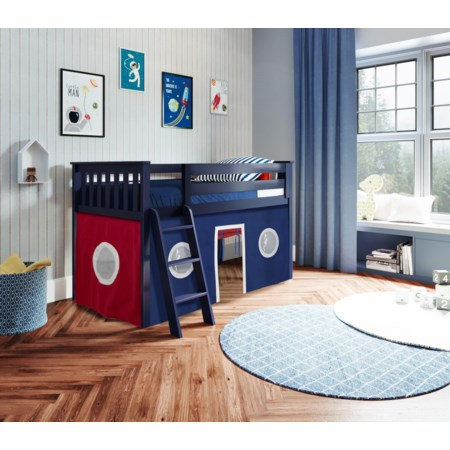 York 2 Low Loft Bed in Blue