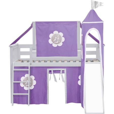York 32 Low Loft Bed in White
