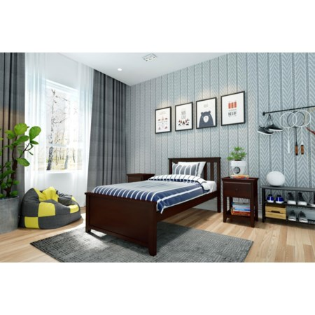 Dublin Twin Single Bed in Espresso