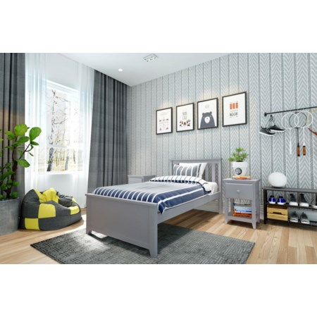Dublin Twin Single Bed in Grey