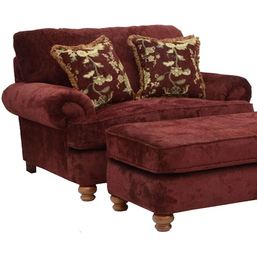 Jackson Furniture Belmont Chair and a Half with Rolled Arms and 2 Decorative Pillows