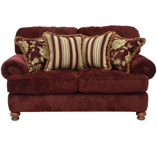 Jackson Furniture Belmont Traditional Styled Loveseat with Decorative Rolled Arms
