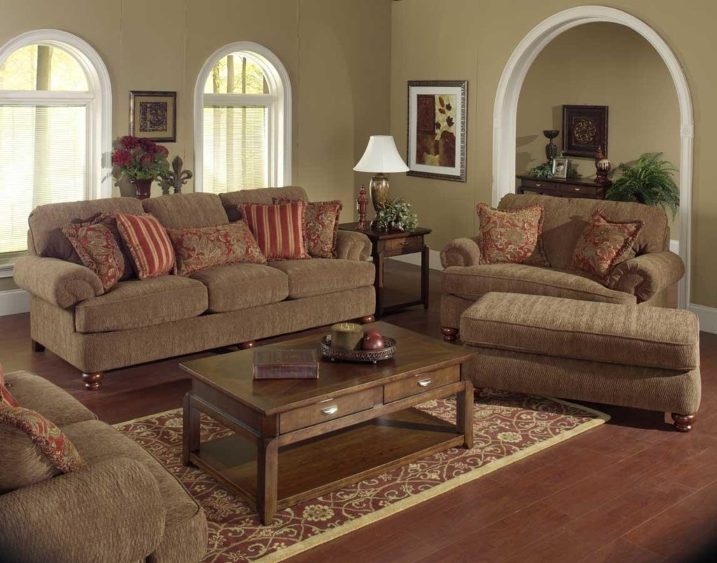 Jackson Furniture Belmont Sofa With Rolled Arms And Decorative