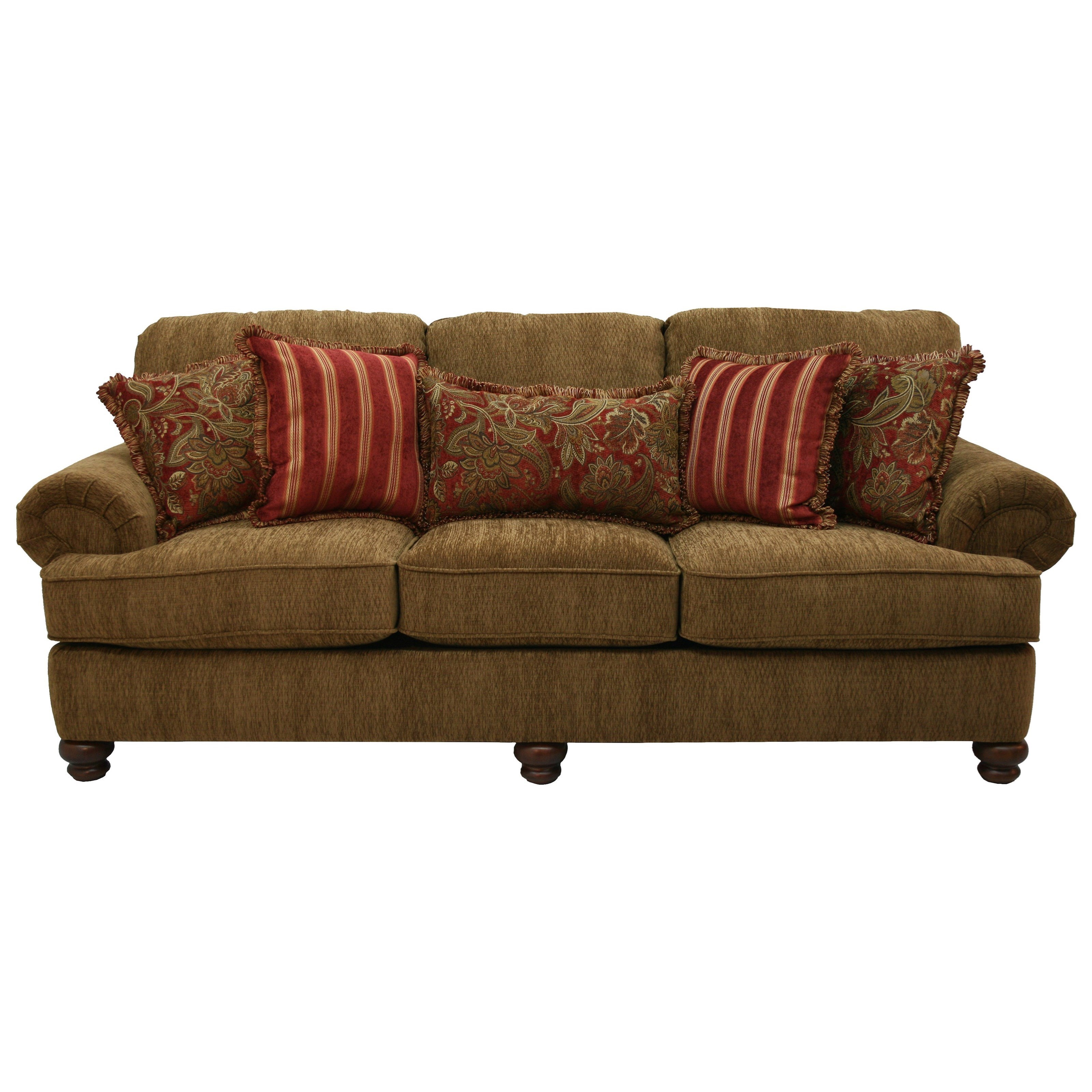 Jackson Furniture Belmont Sofa With Rolled Arms And Decorative Pillows    Zaku0027s Fine Furniture   Sofas