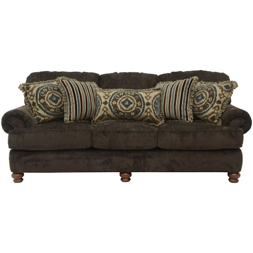 Jackson Furniture Belmont Sofa with Rolled Arms and Decorative Pillows