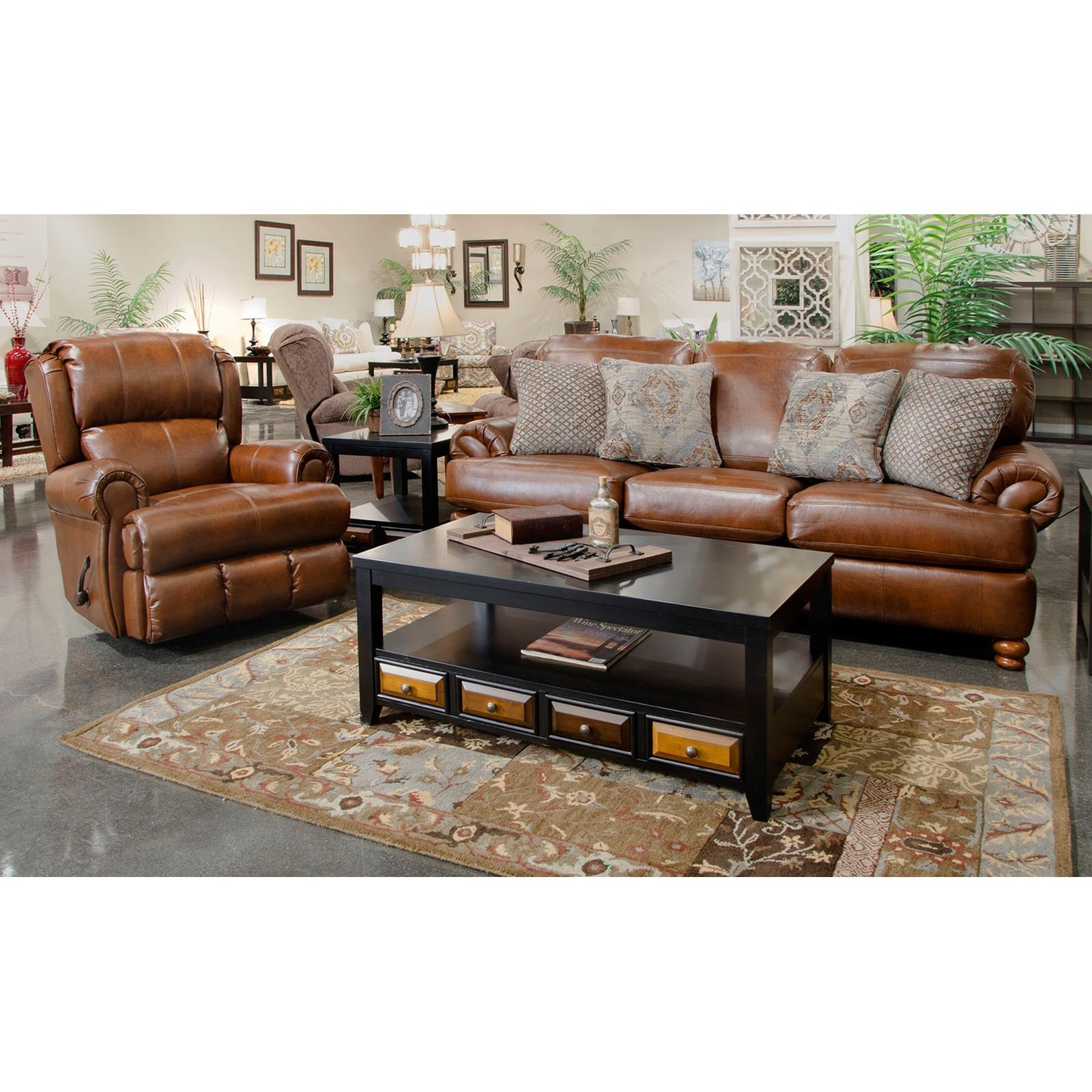 Jackson Furniture Southport Stationary Sofa And Glider Recliner Set   L Fish    Stationary Living .