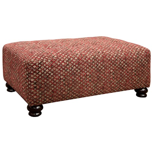 Jackson Furniture Southport Traditional Cocktail Ottoman with Bun Style Feet