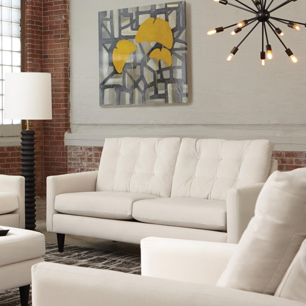 Haley mid century modern loveseat with button tufting by jackson furniture