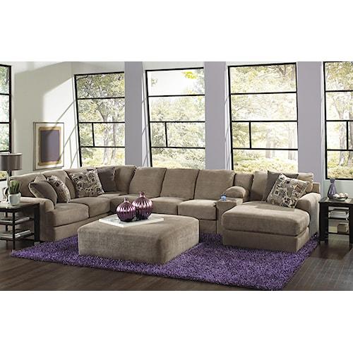 Jackson Furniture Malibu Six Seat Sectional Sofa with Console