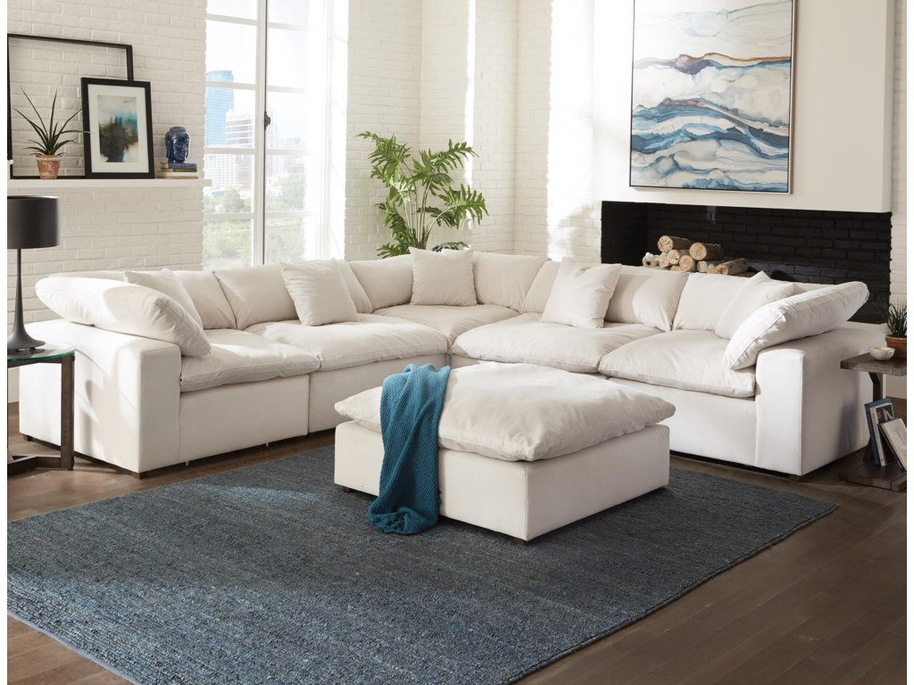Posh Contemporary L-Shaped Sectional Sofa by Jackson Furniture at Lindy\'s  Furniture Company