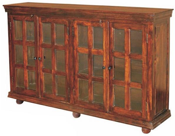 Jaipur Furniture Monsoon Transitional Paneled Glass 4 Door Sideboard
