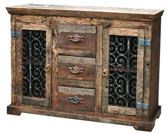 Jaipur Furniture Railroad Ties Steamer Reclaimed Wood 3 Drawer 2 Door  Sideboard   Miskelly Furniture   Buffet