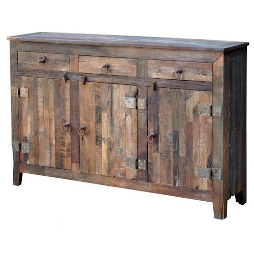 Warehouse M Vintage Weathered Solid Wood 3-Door 3-Drawer Sideboard