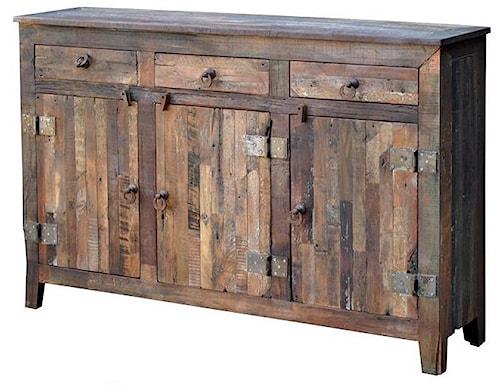 Warehouse M Vintage Weathered Solid Wood 3-Door 3-Drawer Sideboard