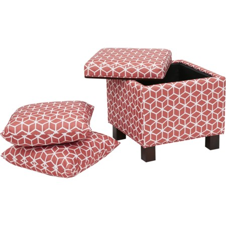Storage Ottoman W/Pillows