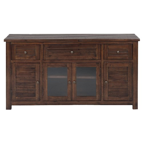 Jofran Urban Lodge Brown Urban Lodge Brown Media Unit with 3 Drawers & 4 Doors
