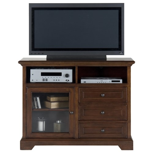 Jofran Eureka Cherry Casual Brown 3-Drawer 2-Shelf 1-Door TV Stand