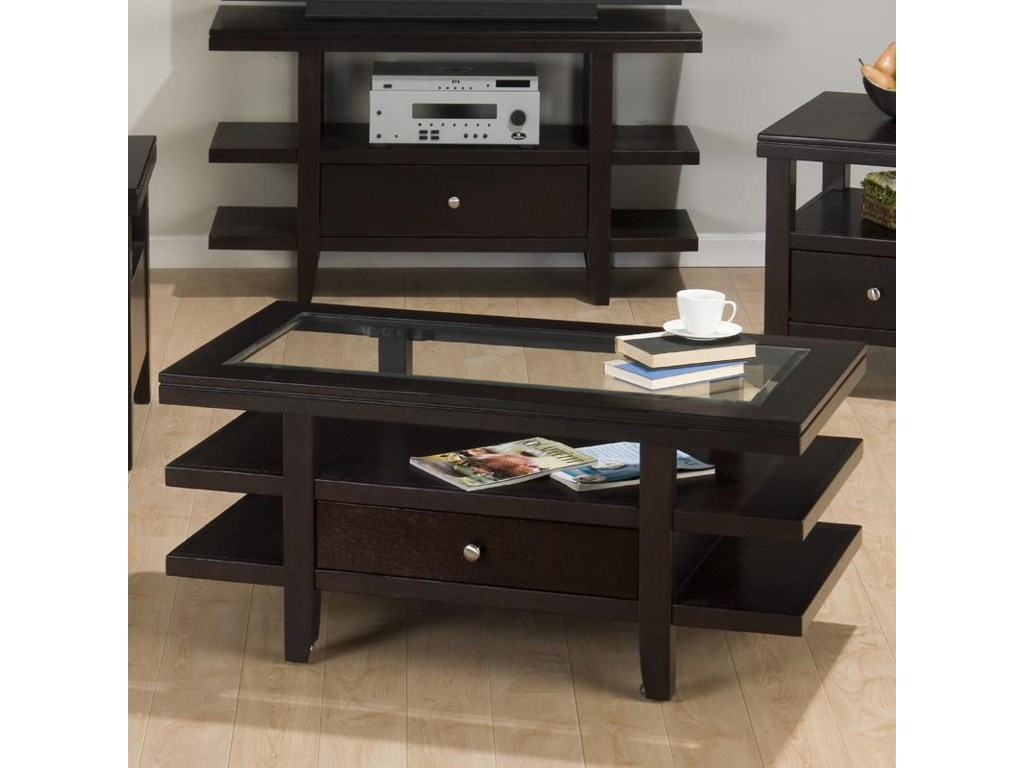 VFM Signature Marlon WengeCocktail Table w/ 3 Tier Shelves