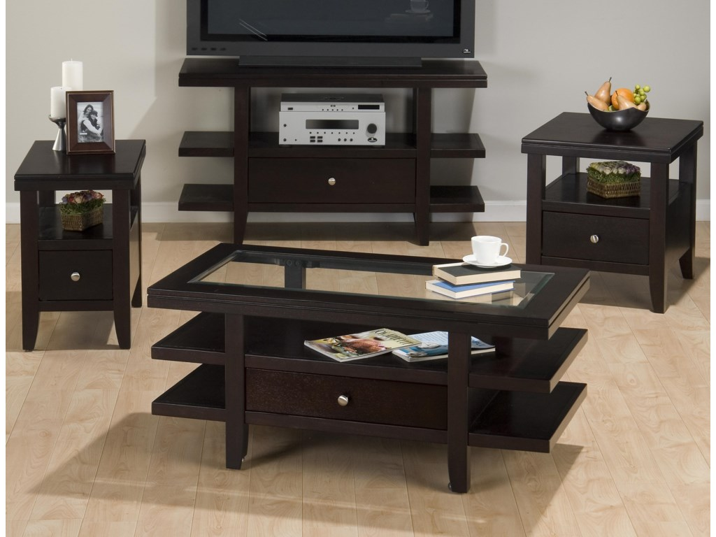 Jofran Marlon WengeCocktail Table w/ 3 Tier Shelves