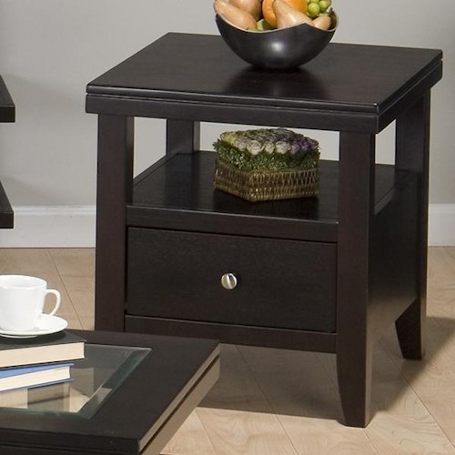 Jofran Marlon Wenge End Table w/ Drawer & Shelf