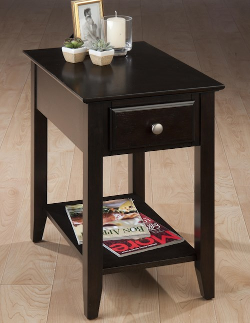 Jofran Espresso Casual Espresso Chairside End Table with Drawer & Shelf