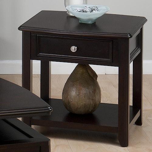 Jofran Corranado Espresso Casual Espresso End Table with Drawer & Shelf