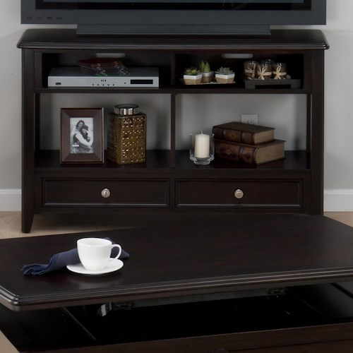 Jofran Corranado Espresso Casual Espresso Sofa Media Unit with 2 Drawers & 2 Shelves