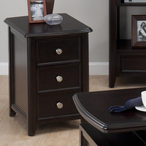 Jofran Corranado Espresso Casual Espresso Chairside Table with 2 Drawers