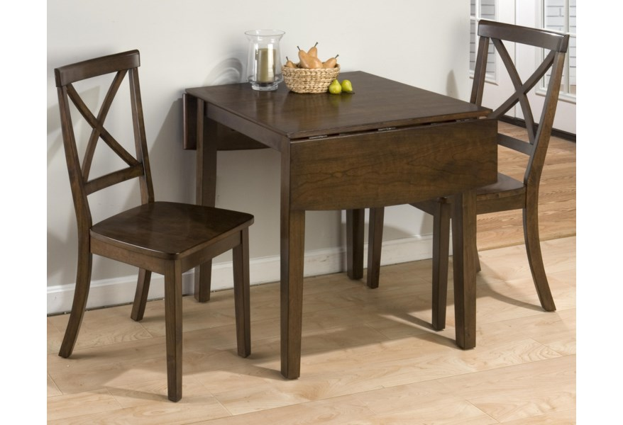 Taylor Cherry 3-Piece Drop Leaf Kitchen Table & Side Chair Set by Jofran at  Dunk & Bright Furniture