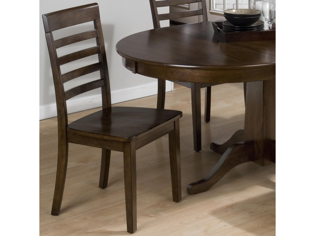 Taylor Cherry Five Slat Ladderback Chair With Wood Seat By Jofran At Pilgrim Furniture City