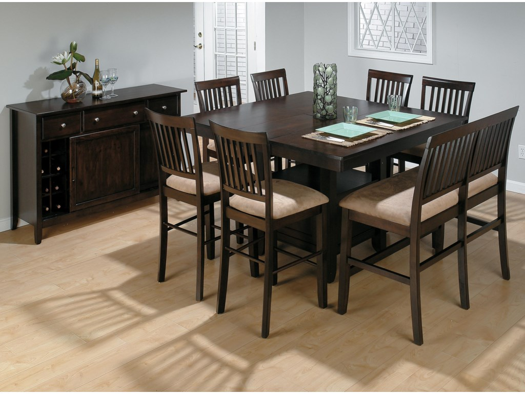 Jofran Bakery's CherryCounter Height Table, Bench, and (6) Stools