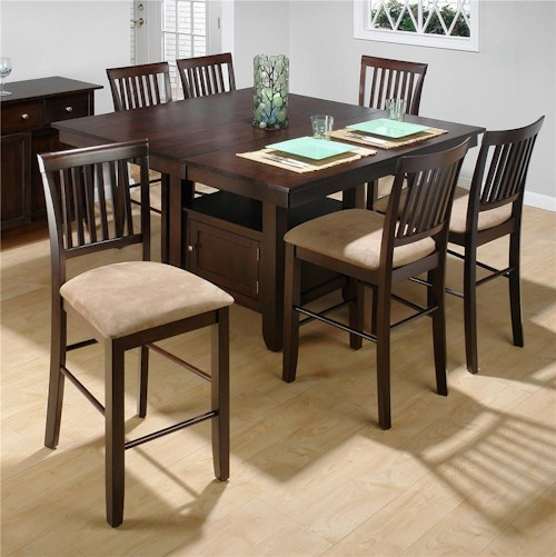 Jofran Bakery's Cherry Counter Height Table and (6) Slat Back Stools Set