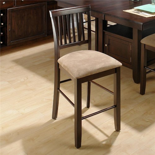 Jofran Bakery's Cherry Slat Back Counter Height Stool w/ Upholstered Seat