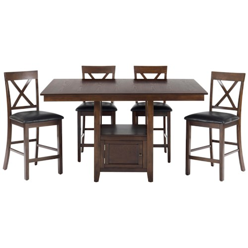 Jofran Olsen Oak 5-Piece Casual Counter Height Pedestal Table & X-Back Stool Set