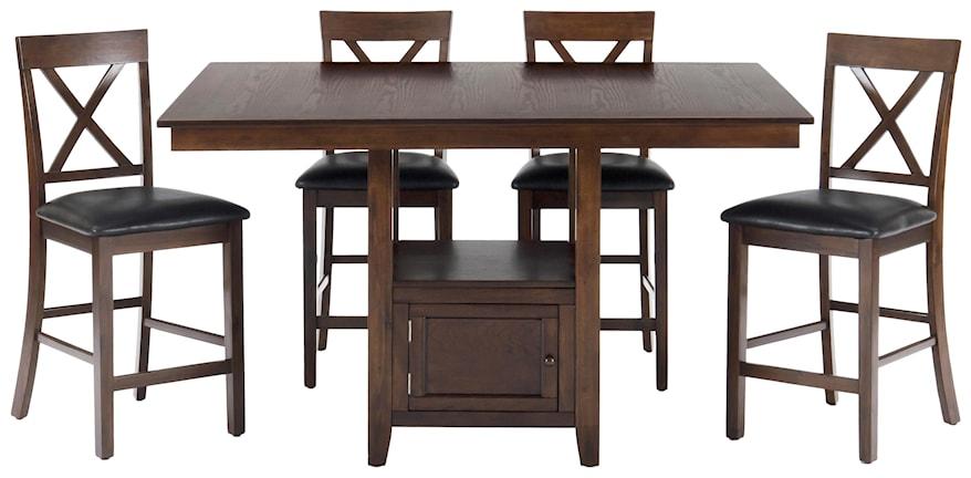 5 Piece Counter Height Dining Set Oak