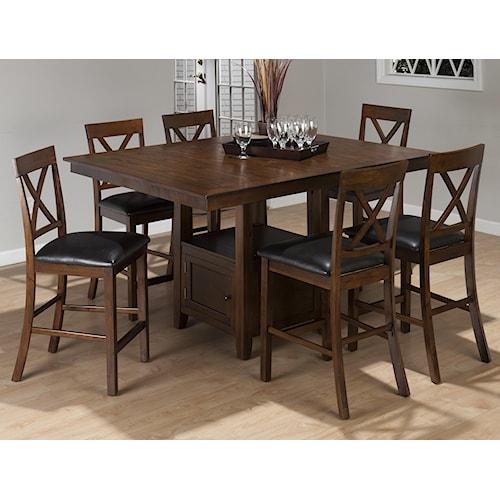 Jofran Olsen Oak 7-Piece Casual Counter Height Pedestal Table & X-Back Stool Set