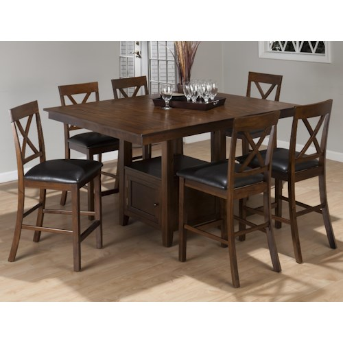 Jofran Olsen Oak 7-Piece Casual Counter Height Pedestal Table & X-Back Stool Set