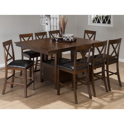 Jofran olsen oak 9 piece casual counter height pedestal for 9 piece dining room set counter height