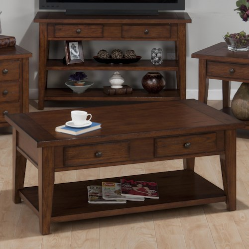 Jofran Clay County Oak Double Header Cocktail Table with 4 Drawers