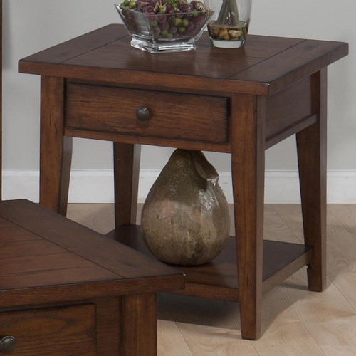Jofran Clay County Oak Sqaure End Table with 1 Drawer