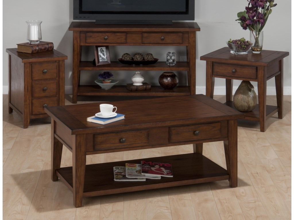 Shown with Chairside Table, Double Header Cocktail Table, and Square End Table
