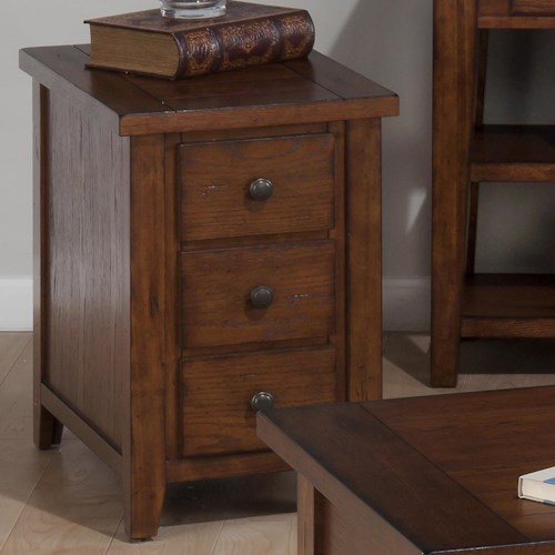 Jofran Clay County Oak Chairside Table with 3 Drawers