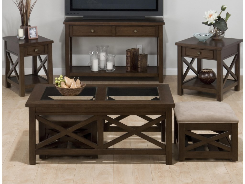 Jofran Xavier BirchCocktail Table & Nesting Ottomans