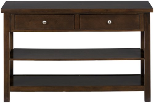 Jofran Xavier Birch Casual 1-Shelf 2-Drawer Media/Sofa Table