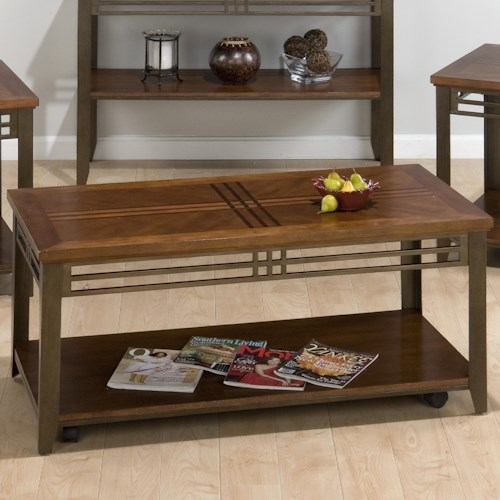 Jofran Barrington Cherry Cocktail Table with Shelf, Inlay Wood Top, & Casters